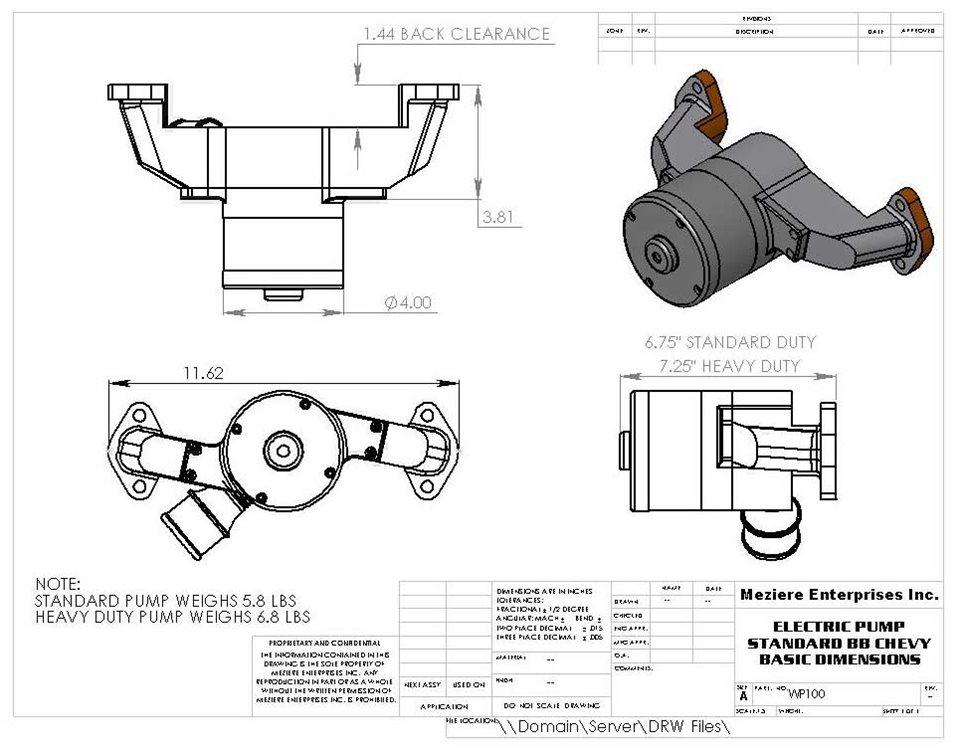 Electric Pump Chevy BB, Standard | Meziere Enterprises