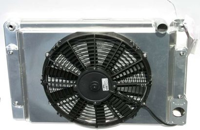 "Radiator, Pro Stock style, 14"" x 22"", 1.25"" top hose, with fan and shroud."