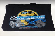 Racing Apparel, Black T-Shirt, Components Design, Adult Medium