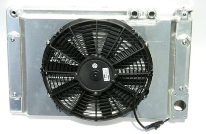 "Radiator, Pro Stock style, 14"" x 22"", dual #12 top hoses, with fan and shroud."