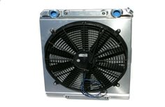 "Radiator, Dragster style, 17.5"" x 22"" with fan and shroud."