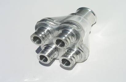 "Four to One Manifold, 1.5"" hose to 3/4 Wiggins"