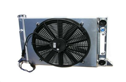 "Radiator, Sportsman style, 16"" x 25"", with fan and shroud"